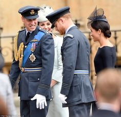 "thecambridgees: """" THE FAB FOUR - The Duke and Duchess of Cambridge and The Duke and Duchess of Sussex arrive at Westminster Abbey for a service to mark the centenary of the Royal Air Force (RAF),."