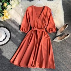 HISUMA 2019 Spring and Summer New female V-neck half sleeve Single-breasted Belt. - HISUMA 2019 Spring and Summer New female V-neck half sleeve Single-breasted Belt A-line Dress women elegant lace-up dresses Source by - Spring Dresses Casual, Trendy Dresses, Elegant Dresses, Women's Dresses, Cute Dresses, Fashion Dresses, Summer Dresses, Floral Dresses, Dress Casual