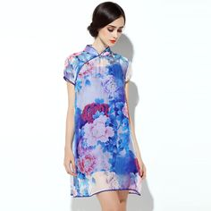 Adorable Modern Silk Chiffon Cheongsam Qipao Dress - Qipao Cheongsam & Dresses - Women