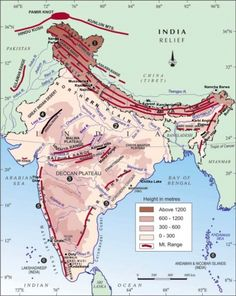 Class IX: Chapter 2 - Physical Features of India (Question & Answers) World Geography Map, Geography Lessons, Teaching Geography, Physical Geography, Geography Activities, Science Lessons, India World Map, India Map, Himalayas Map