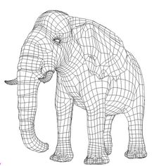 Elephant sketched in 3d