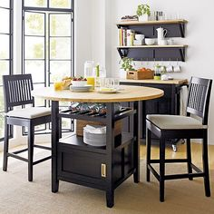 Aspen Black Barstools and Awning Stripe Cushion in Barstools | Crate and Barrel
