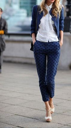 subtle navy polka dots