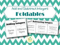 This file includes two great foldables to be used for teaching Adding and Subtracting Integers! Students will be able to easily cut and fold to create a tool that can be added into their interactive notebook.  I have also included practice problems for each type, so the students will have a chance to practice after the notes are filled in.