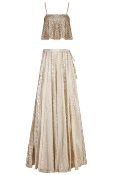 Gold Embellished Crop Top with Off White Skirt Indian Wedding Outfits, Indian Outfits, Indian Clothes, Wedding Dress, Dress Indian Style, Indian Dresses, Indian Attire, Indian Ethnic Wear, Indian Designer Outfits