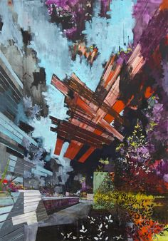 David Schnell Abstract Drawings, Abstract Art, Abstract Paintings, Composition Painting, Art Prompts, A Level Art, Unusual Art, Urban Landscape, Artist Painting