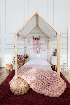 Romantic dreamy vintage girls room interior ideas, girls nursery decor ideas, nursery decorations and accessories, floor bed, toddler bed, children bed, house bed, kids teepee, wood house, baby bed, Montessori toys tent bed, children bedroom bed house, nursery bed