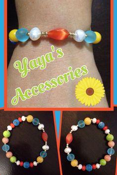 Pulsera con beads y rondells de cristal, perlas de agua dulce, ágatas, jade y cat eye