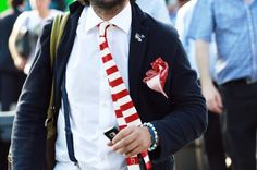 white × red knitted tie streetstyle