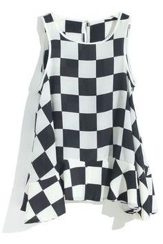 #Romwe Black-white Checkered Swing Vest