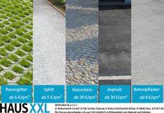 Die Belagarten für Einfahrten unterscheiden sich im Preis nach Material und Anbieter