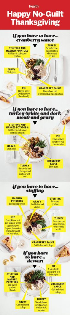 """Healthy Thanksgiving swaps: Enjoy a little extra of your favorite food on Turkey Day—€""""€""""minus the regret—€""""€""""with strategic trade-offs that balance out your plate. healthyswaps 