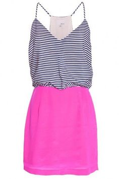 Thin strap stripes print top and pink skirt