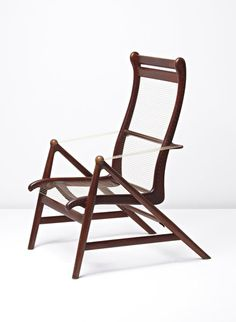 Helge Vestergaard-Jensen; Teak, Brass and Nylon String Armchair by Peder Pedersen, c1957.