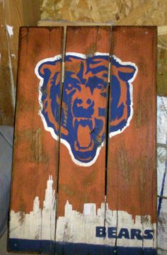 Chicago Bears pallet art distressed hand painted sign with the chicago skyline.
