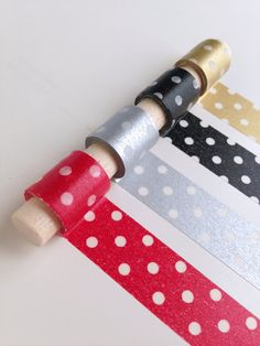Elegant Polka Dots Washi Tape Set - Translucent polka dots on red, silver, black and gold. Keep it classy out there!