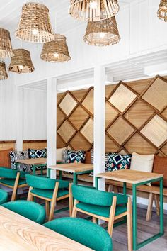 Love the turquoise and natural wood. - Cafe interior