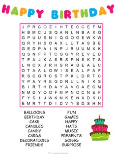 Use this birthday word search puzzle for a game at your next kids' party. Colorful and just the right number of words to find to make a fun activity.