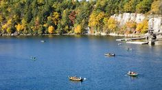 Boating on Lake Mohonk puts you right in the middle of our stunning cliff lines and forest edge. #mohonk #fallfoliage