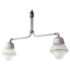 An Industrial dual light fixture of steel and robust Holophane glass. Chandeliers, Chandelier Pendant Lights, Modern Chandelier, 1940s Home, Home Lighting, Light Fixtures, Sconces, Im Not Perfect, Wall Lights