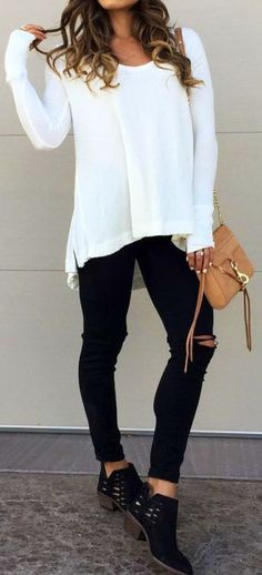 #fall #outfits women's white scoop-neck long sleeve shirt, black pants, brown crossbody bag amnd black shoes outfit