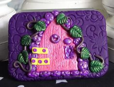 """A small rectangular hinged tin. Approx. 3.45"""" across, 2.45"""" back to front & depth 0.45"""". Decorated using polymer clay. Inside the top and bottom are lined with paper vellum stickers.  A host of magical goodies are inside the tin! Miniature Bottles, Small Bottles, Travel Kits, Faeries, Altar, Tin, Craft Supplies, Polymer Clay, Cool Designs"""
