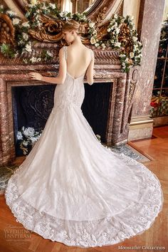 moonlight collection fall 2016 bridal sleeveless lace strap v neck heavily embellished bodice mermaid wedding dress open back cathedral train (j6436) bv -- Moonlight Collection Fall 2016 Wedding Dresses