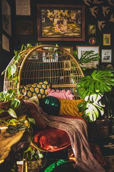 Bohemian Jungle Office Inspiration | vaughan-house.com Hippy Room, Boho Room, Deco Boheme Chic, Room With Plants, Room Goals, Room Ideas Bedroom, Aesthetic Room Decor, Dream Rooms, My New Room