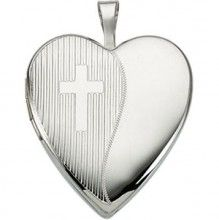 Puffed Heart Sterling Silver Locket With Cross