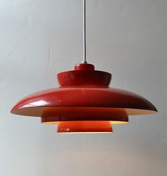 Danish Modern Lamp/Light 1960s Space Age Mid Century UFO Red Vintage Eames Mod