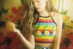 @unif Six Daisy Crop Top #rainbow