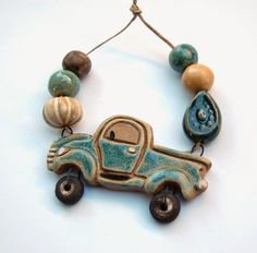 Gaea Ceramic Bead and Art Studio Blog - New vintage truck pendant and bead set!