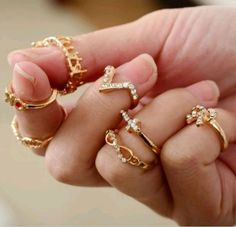 cross bow v-shape diamond seven sets joint rings (7pcs a set price), lowest price buy from http://costwe.com/double-rings-ring-sets-c-47_98.html