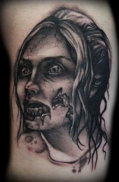 amazing-amazing black work zombie tattoo