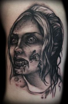 amazing-amazing black work zombie tattoo