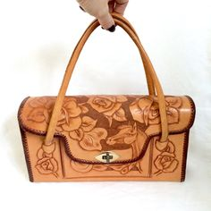 Vintage hand Tooled Leather purse with Horse and Roses / Hand Tooled Floral Leather Handbag by EllasAtticVintage on Etsy