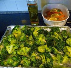 Best Broccoli ever ~need broccoli, sea salt, olive oil, pepper, parmesan cheese, garlic and lemon. Preheat oven to 425. Toss cut, dry broccoli in enough olive to lightly coat each piece. Add a bit of minced garlic. Toss together. Spread single layer on baking sheet. Add salt & pepper. Bake 20-25 minutes. Squeeze lemon over and sprinkle with Parmesan cheese and serve.