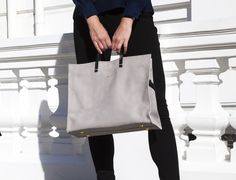 Clare Vivier for goop monogrammable large grey tote #goopcollection