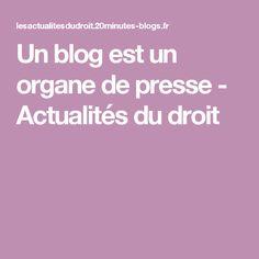 Un blog est un organe de presse - Actualités du droit