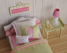 Miniature 112 Scale Dollhouse Bed With Pink by LittleThingsByAnna, 50.00 dollars