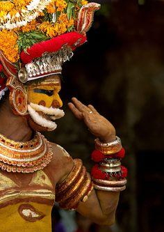 Muthappan Theyyam disguised as Lord Vishnu - India