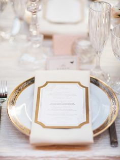 Elegant Wedding -- Place Setting -- See more on  http://www.StyleMePretty.com/midwest-weddings/2014/04/04/classic-blush-peach-ohio-statehouse-wedding/ Photography: AmandaWilcher.com