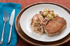 Oktoberfest Pork Chops with Hops-Braised Cabbage & German Potato Salad