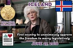 The first Head of Government to enter into a same sex marriage was Johanna Sigurdardottir, Iceland''s 68 year old Prime Minister, on 27 June, 2010. | http://weddingsinthesky.blogspot.com/2013/02/weddings-guinness-world-records.html #Weddings #Guinness