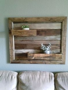 Reclaimed wood decor with shelves