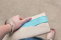 Super cute DIY linen clutch! No sew!