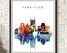 Nashville Watercolor Skyline, Nashville Printable Skyline, Tennessee Digital Poster, Printable wall art, Digital Download