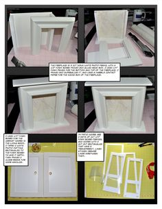 fake fire place can be made out of moulding and foam and contact paper Fireplace Frame, Fake Fireplace, Fireplace Mantels, Doll Furniture, Dollhouse Furniture, Cardboard Furniture, Furniture Design, Cardboard Fireplace, Cardboard Crafts