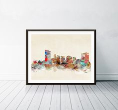 toledo ohio skyline . toledo city skyline. toledo cityscape. City Skyline Art, Baltimore City, Toledo Ohio, Thing 1, Perth Australia, Nursery Art, Giclee Print, Fine Art Prints, Watercolours
