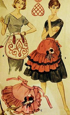 McCalls 2406 Misses' Rockabilly Hostess Aprons Sewing Pattern Vintage 1960